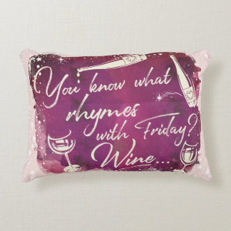 Funny Wine Humor Quote Typography Watercolor Art Accent Pillow