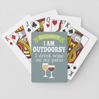 Funny Wine Quote with Custom Name Playing Cards