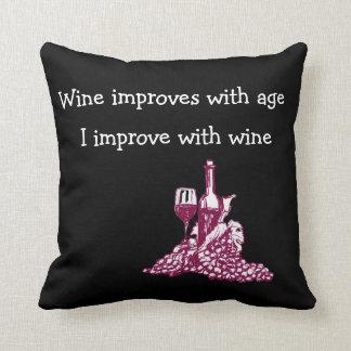 Funny Wine Theme Throw Pillow