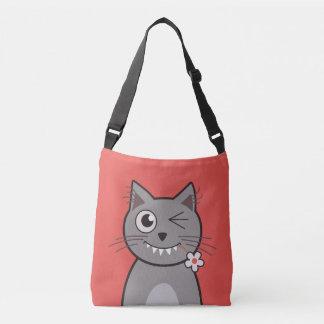 Funny Winking Cartoon Kitty Cat Crossbody Bag