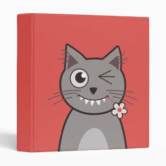 Funny Winking Cartoon Kitty Cat Vinyl Binder