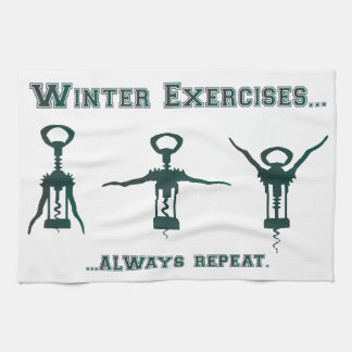 Funny Winter Exercises Kitchen Towel