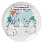 Funny Winter Snowmen Cartoon Plate