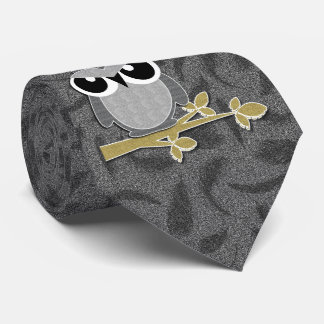 Funny Wise Guy Owl with Gray Feather Background Tie