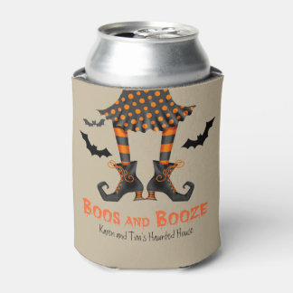 Funny Witch Boos and Booze Halloween Can Cooler