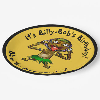 Funny Witch Doctor Tiki Party - Personalized 9 Inch Paper Plate