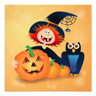 Funny witch with owl and pumpkins, invitation