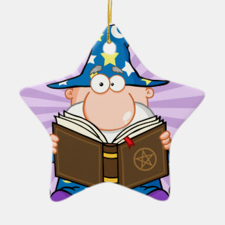Funny Wizard Holding A Magic Book Ornaments