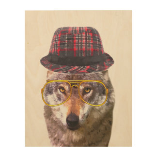 Funny wolf woodland animal watercolor wood wall art