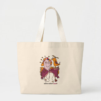 funny woman and bird naive art designer noa large tote bag