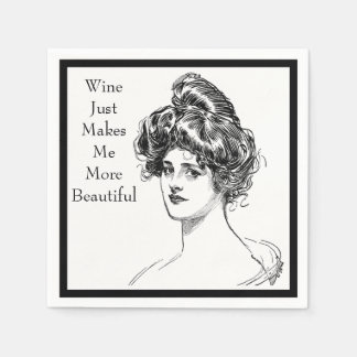 Funny Woman Quote Wine Makes Me More Beautiful Napkin