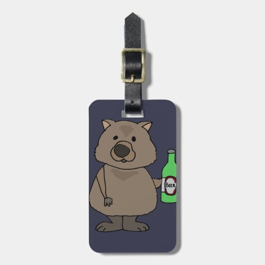 Funny Wombat Drinking Bottle of Beer Cartoon Bag Tag