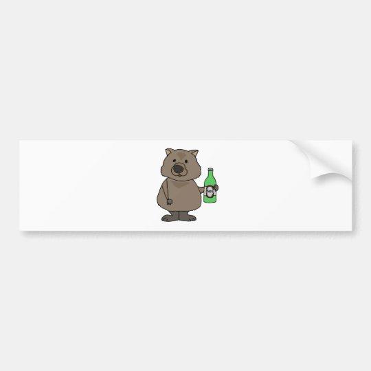 Funny Wombat Drinking Bottle of Beer Cartoon Bumper Sticker