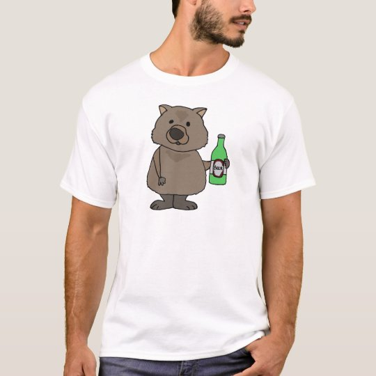 Funny Wombat Drinking Bottle of Beer Cartoon T-Shirt