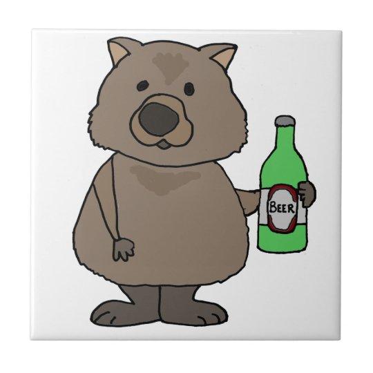 Funny Wombat Drinking Bottle of Beer Cartoon Tile