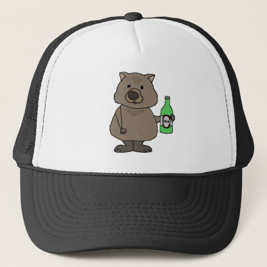 Funny Wombat Drinking Bottle of Beer Cartoon Trucker Hat