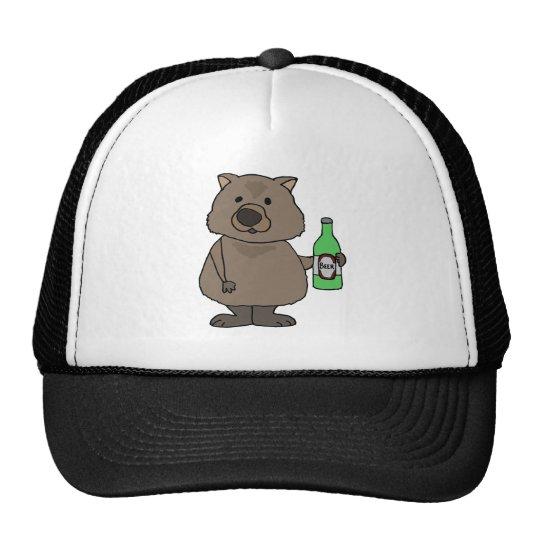 Funny Wombat Drinking Bottle of Beer Cartoon Trucker Hat
