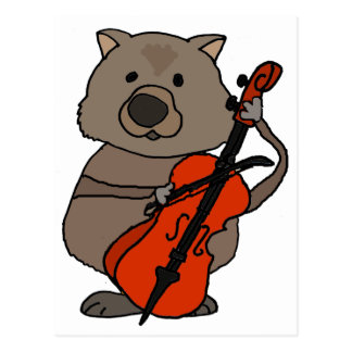 Funny Wombat Playing Cello Cartoon Postcard