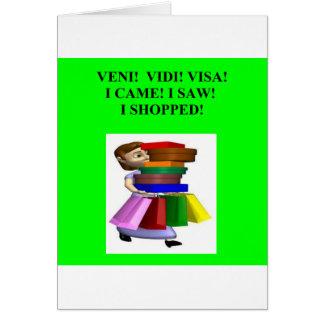 funny women's shopping joke greeting card