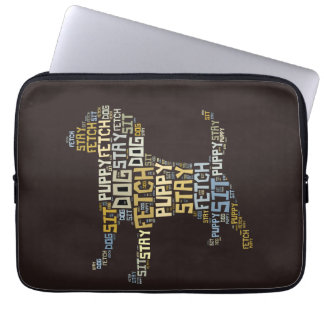 Funny Word Cloud Dog Sit Stay Fetch Obedience Laptop Sleeve