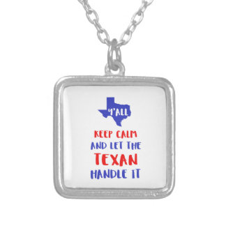 Funny Y'all Texas Girl Tees Silver Plated Necklace