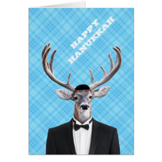 Funny Yarmulke Happy Hanukkah Deer Blue Plaid Card