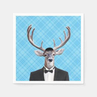 Funny Yarmulke Happy Hanukkah Deer Blue Plaid Paper Napkins