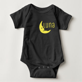 Funny Yellow Black Half Moon Luna Typography Baby Bodysuit