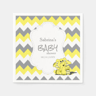 Funny Yellow Chevron Silly Cute Baby Elephant Paper Napkin