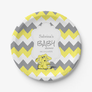Funny Yellow Chevron Silly Cute Baby Elephant Paper Plate