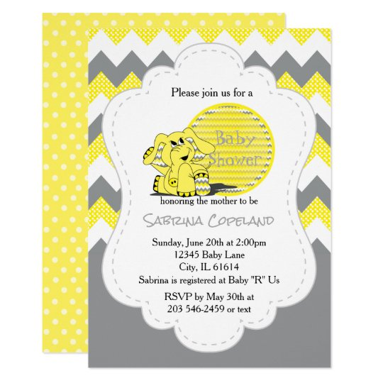 Funny Yellow Chevron Silly Elephant | Baby Shower Card