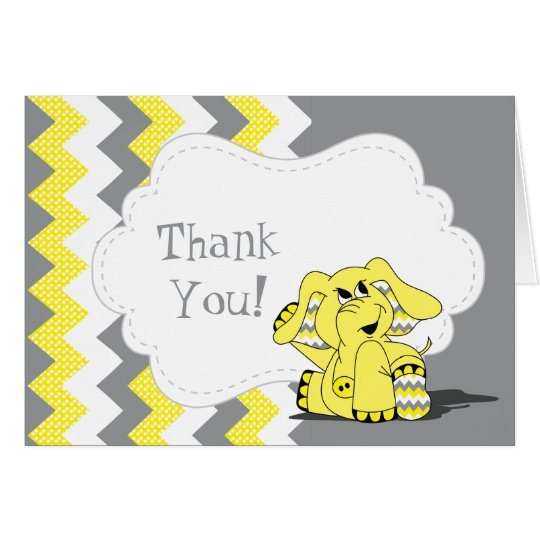 Funny Yellow Chevron Silly Elephant Card