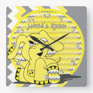 Funny Yellow Chevron Silly Elephant Square Wall Clock