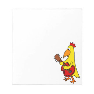Funny Yellow Chicken Playing Guitar Notepads