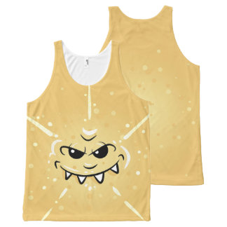 Funny Yellow Face with Sneaky Smile All-Over-Print Tank Top