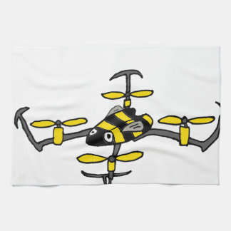 Funny Yellow Jacket Drone Bee Design Kitchen Towels
