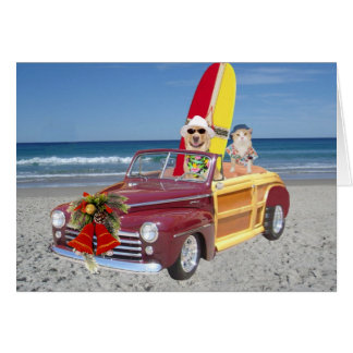 Funny Yellow Lab & Cat Surfer Christmas Card
