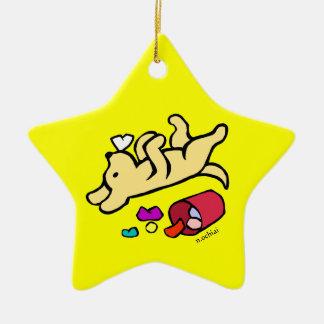 Funny Yellow Labrador Cartoon Ornaments