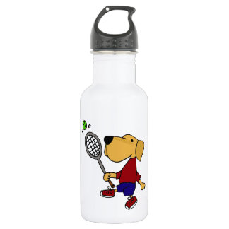 Funny Yellow Labrador Dog Playing Tennis Cartoon 532 Ml Water Bottle