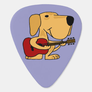 Funny Yellow Labrador Playing Guitar Pick
