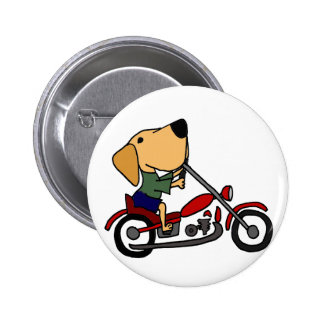 Funny Yellow Labrador Retriever on Motorcycle 2 Inch Round Button