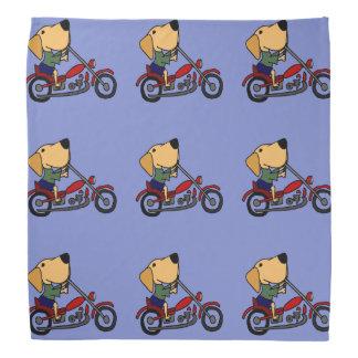Funny Yellow Labrador Retriever on Motorcycle Bandana