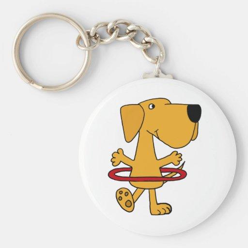 Funny Yellow Labrador Retriever Playing Hula Hoop Keychain