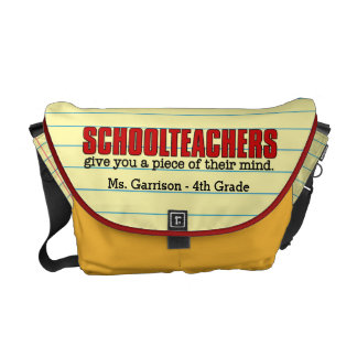 Funny Yellow Lined Paper Theme for Schoolteachers Courier Bags