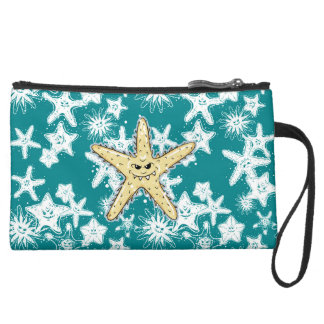 Funny yellow pointed Starfish with a smirk Suede Wristlet