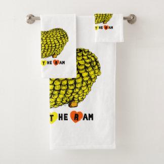Funny Yellow Ram Chinese Year Zodiac Towel Set