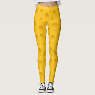 Funny yellow swiss cheese pattern print leggings
