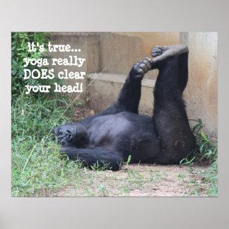 Funny Yoga Gorilla Poster (16x20)