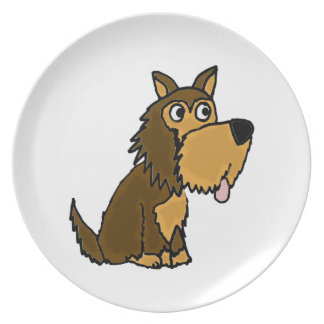 Funny Yorkshire Terrier Dog Cartoon Party Plate