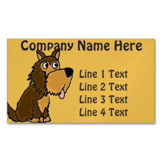 Funny Yorkshire Terrier Puppy Cartoon Business Card Magnet